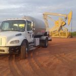white truck with tank