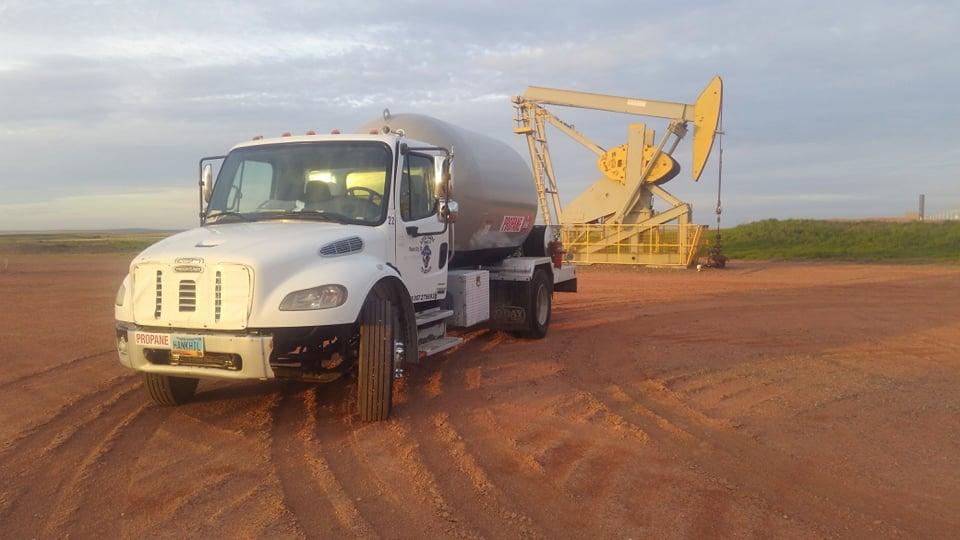 propane tank in oil field